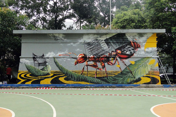 Street art new mural by fintan magee in jakarta for Mural indonesia