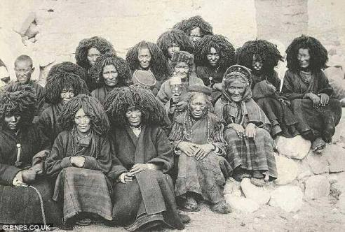 African Chinese history: Turn of the century Tibetan nuns, wearing African-inspired wigs!
