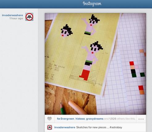 Street artist Invader posts plans for Astro Boy work on Instagram