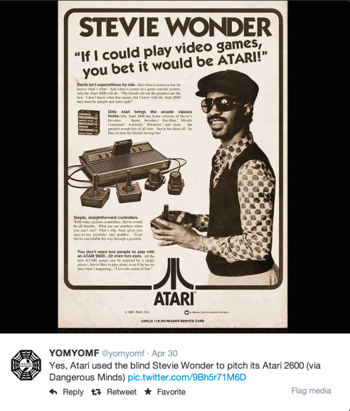 YOMYOMF's tweet of a vintage Atari ad, featuring none other than Stevie Wonder